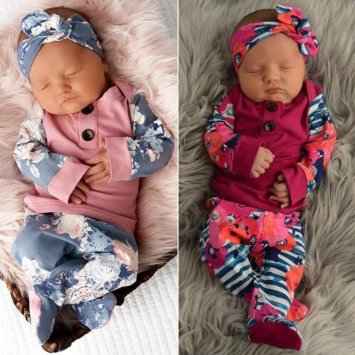 US Newborn Baby Girl Long Pants Clothes Outfits