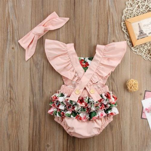 US Newborn Kids Girl Floral Bodysuit Clothes Outfit Summer