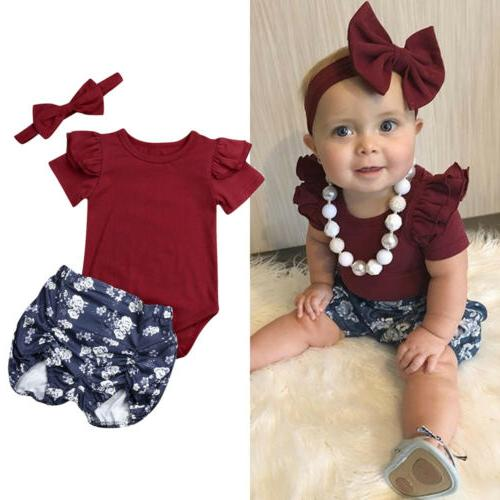 US Baby Girl Floral Tops Romper+Short Outfits