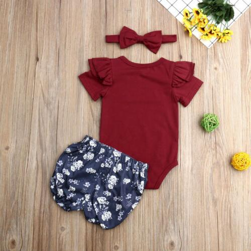 US Stock Newborn Baby Floral Tops Pants Outfits