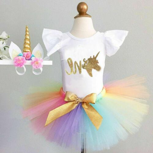 US Toddler Girl 1st Unicorn Romper Skirt Outfit
