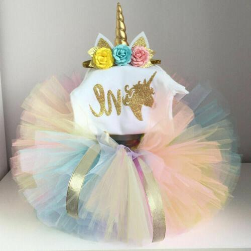 US Toddler Baby Girl 1st Romper Tutu Skirt Outfit