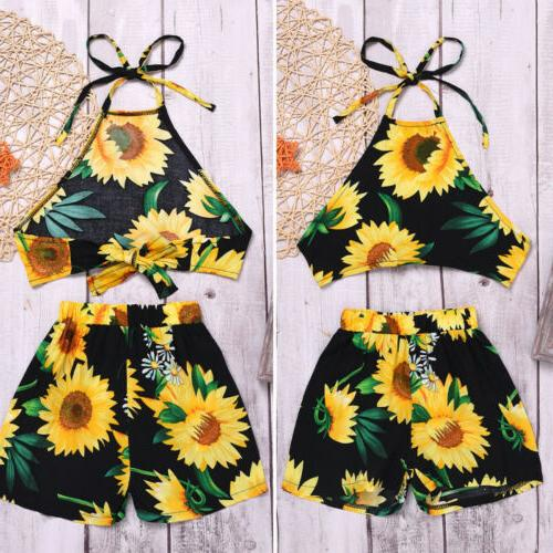 us toddler kid baby girl sunflower clothes