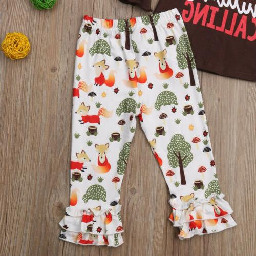 US Kid Girls T-shirt Pants Leggings Sunsuit