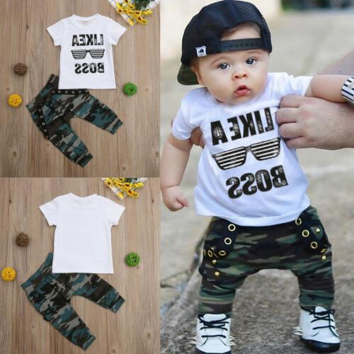 US Toddler Baby Boy Cute Sleeve Clothes Set