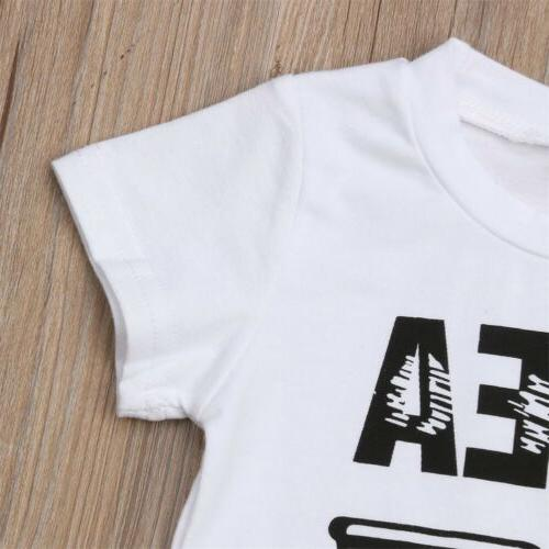 US Kids Baby Boy Outfits Short Sleeve Top+Pants Clothes Set