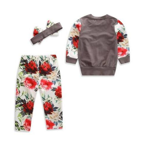 US Kids Baby Girl Floral Tops Leggings Outfits Clothes