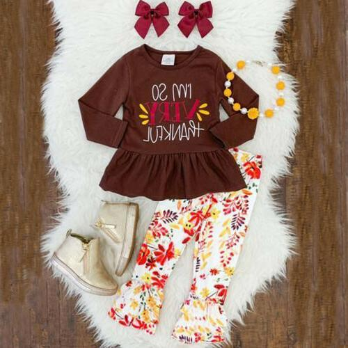 US Kids Girl Tops Floral Outfit