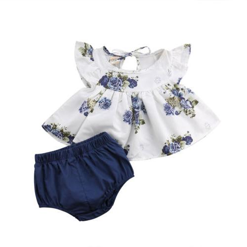 USA Newborn Baby Girl Tops Dress Shorts Pants
