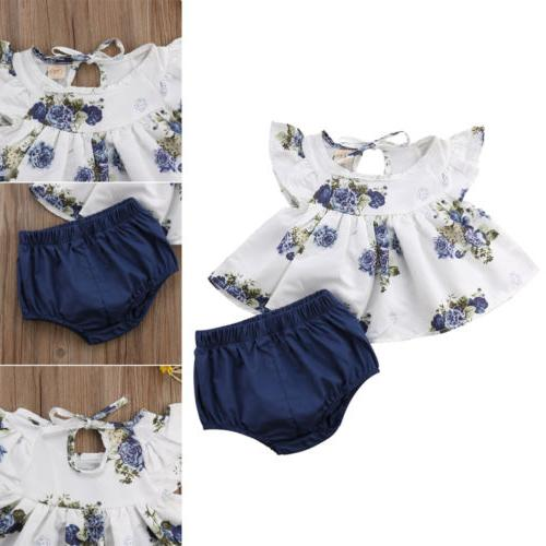USA Newborn Baby Floral Tops Dress Shorts Pants Outfits