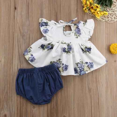 USA Baby Girl Floral Dress Outfits
