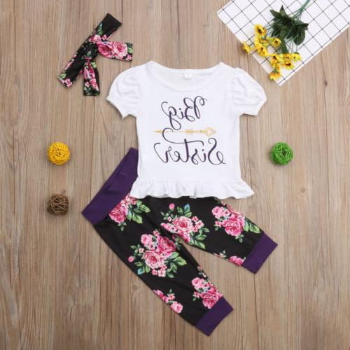 USA Little Girl Romper Top+ Pants Clothes