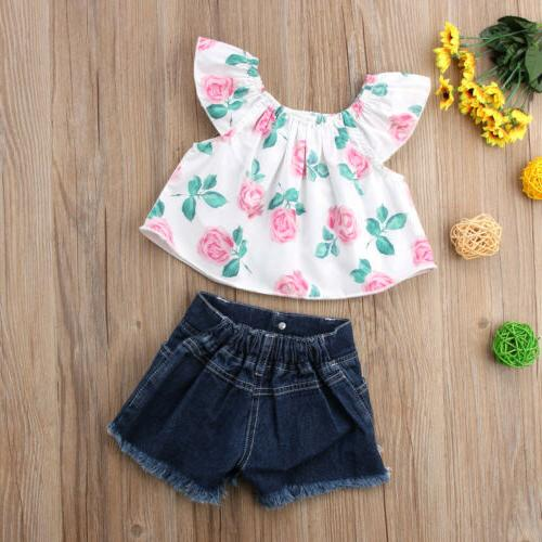 USA Girl Off Shoulder Flower Tops Outfits