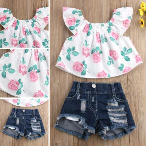 USA Toddler Baby Girl Shoulder Flower Outfits