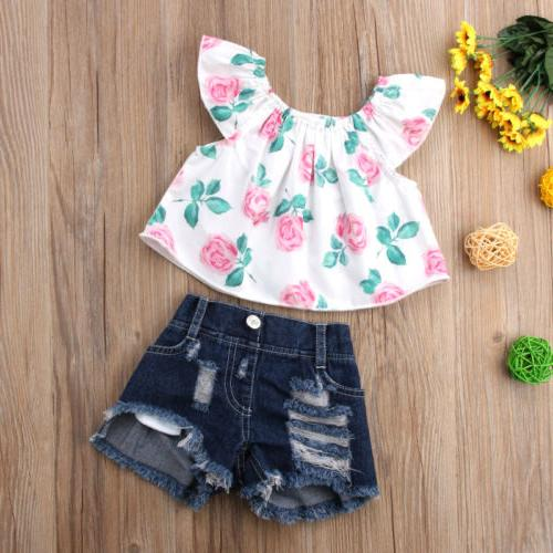 USA Toddler Kid Girl Clothes Flower Tops Outfits
