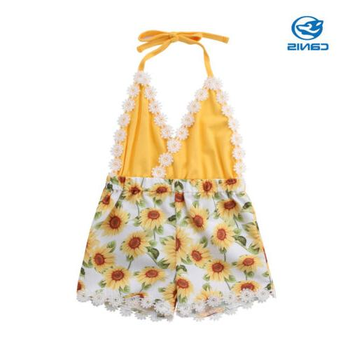 USA Girls Sunflower Romper Jumpsuit Outfit Clothes