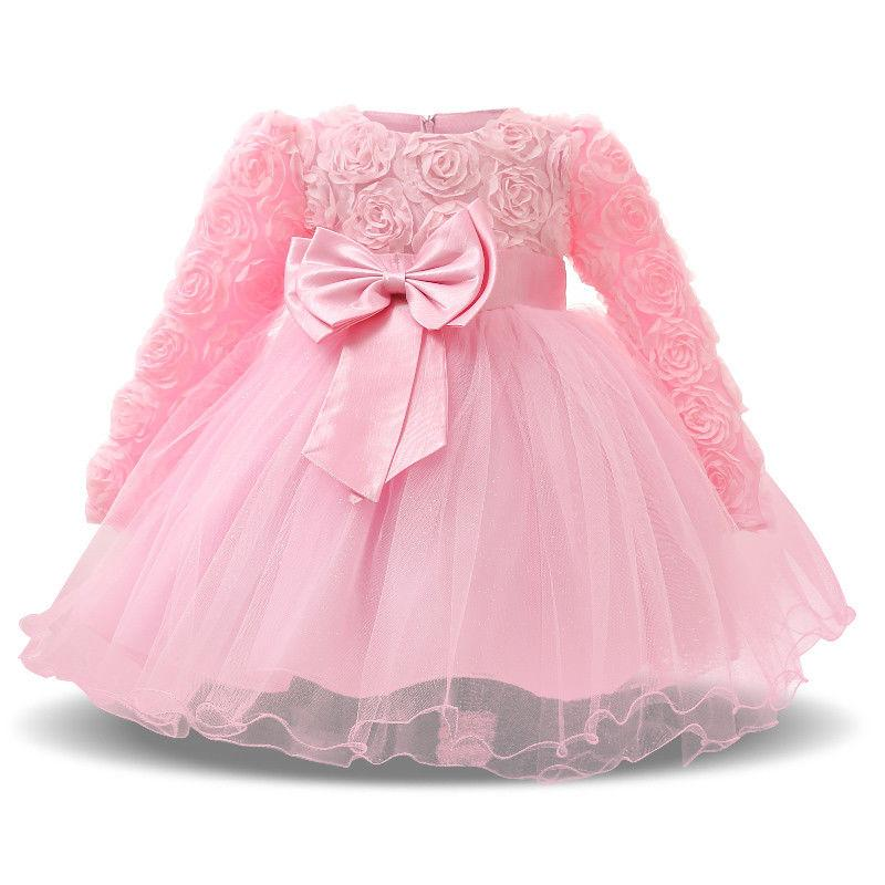Winter Baby Girl Flower Party Dress For Wedding Baptism Chri