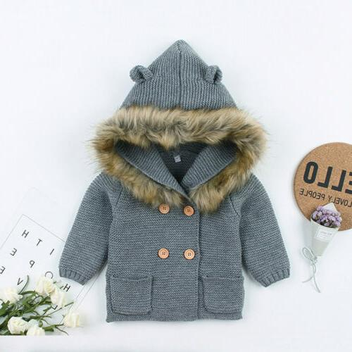 Winter Newborn Boy Girl Coat Fur Collar Clothes USA