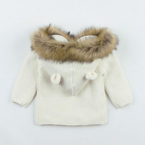 Winter Newborn Baby Boy Knit Hooded Coat Clothes