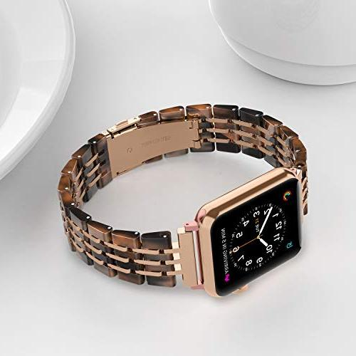 Wearlizer Womens Apple Band 42mm 44mm Unique Strap Cool Replacement Mens Bracelet Steel Series 4 3 2 Edition-Tortoise+Deep Rose Gold