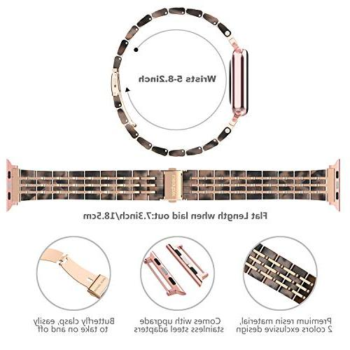 Wearlizer Womens Compatible with Apple Watch Band 44mm Resin Strap Cool Mens with Steel Clasp 3 Rose Gold