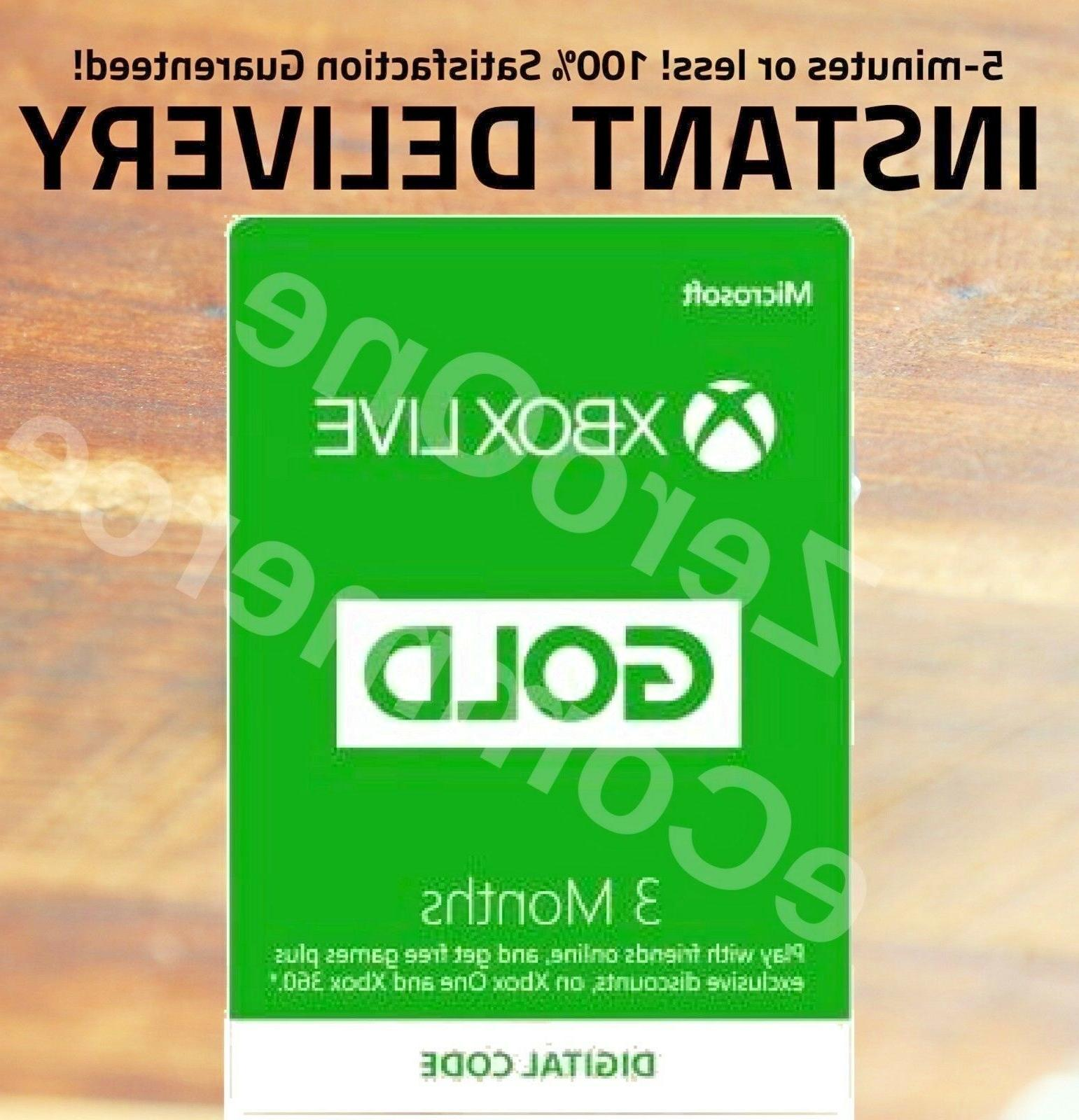 Microsoft Xbox Live 3 Month Gold Membership ⚡⚡INSTANT DE