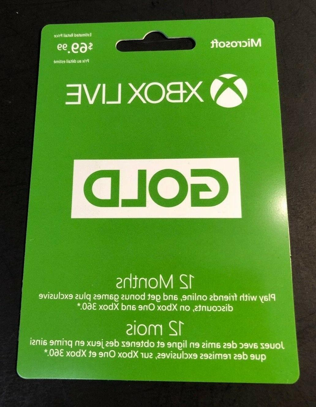xbox live gold membership card 12 month