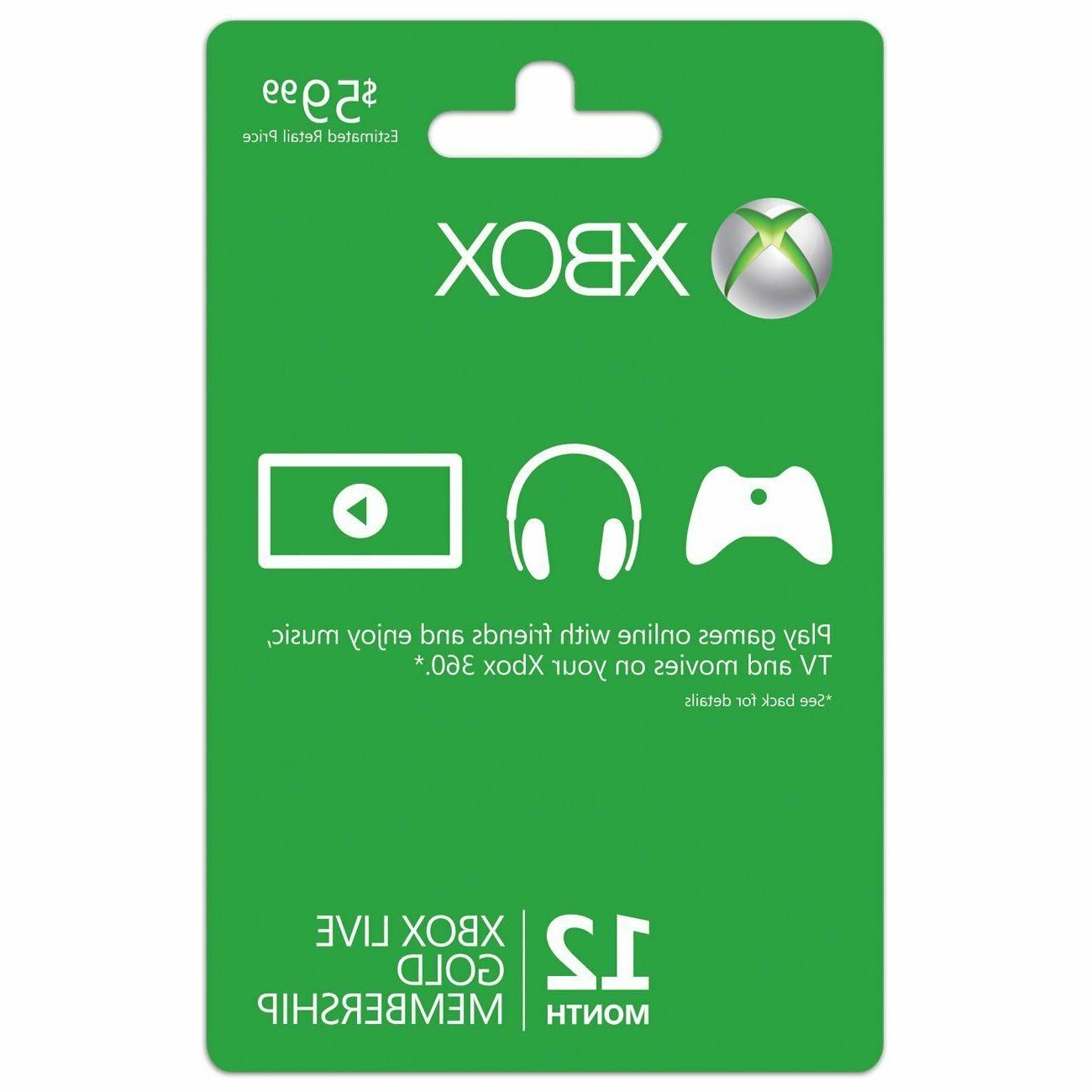 Xbox One/360 Live 12 Month Gold Membership Subscription Code