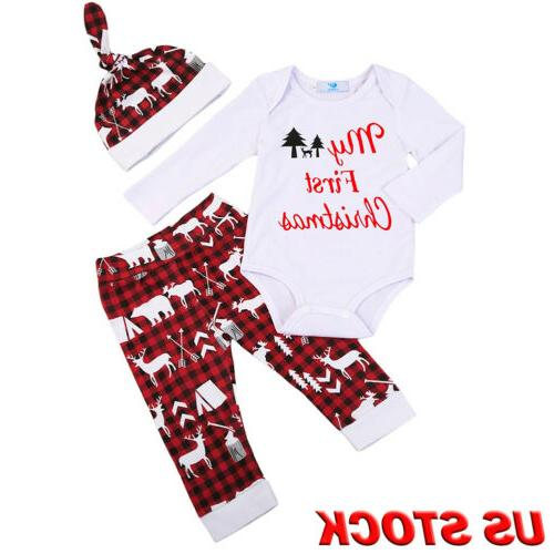 Girls Outfits Clothes T-shirt Tops Pants+Hat Set