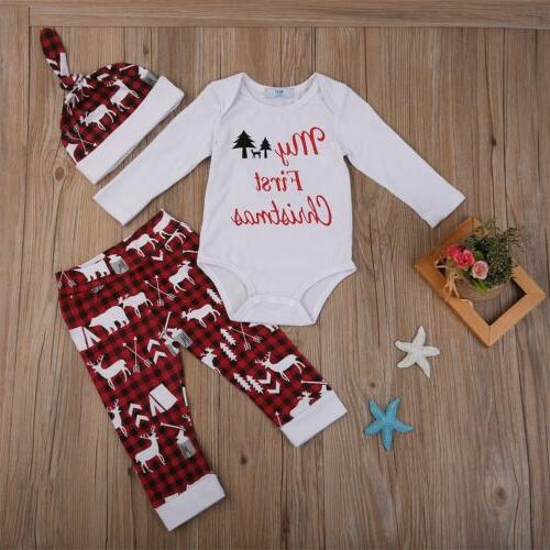 XMAS Girls Tops Romper+Long Set