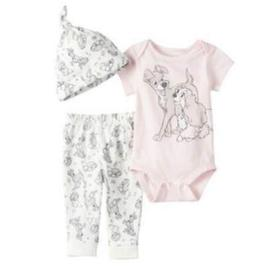 DISNEY LADY AND THE TRAMP 3 PIECE BABY OUTFIT SIZE NB 3 6 9