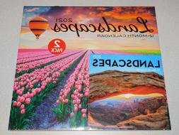 Landscapes 2 Pack Wall Calendars 2021 - New Sealed - 12 Mont