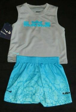 NIKE LEBRON JAMES BABY BOYS BLUE MUSCLE SHIRT SHORTS SET OUT