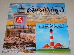Lighthouses 2 Pack Wall Calendars 2021 - New Sealed - 12 Mon