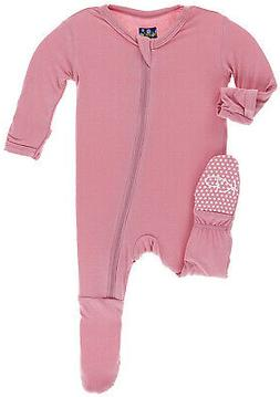 Kickee Pants Little Girls Solid Footie with Zipper - Desert