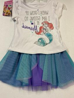 Disney Little Mermaid Toddler Girl 3 piece Outfit Size 12Mon