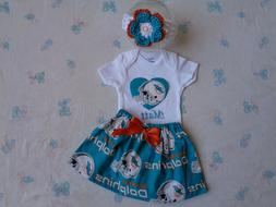 Miami Dolphins Baby Girl Skirt, Personalized Bodysuit and He