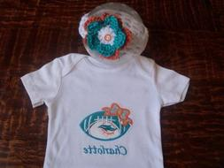Miami Dolphins Personalized Baby Girl Bodysuit and headband