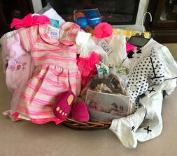 NEW Baby Girl Gift Basket 13 Pieces Set- Crib Shoes, Outfits