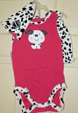 New Baby Girls 12 Months 3 Piece set Dog Outfit Gerber Onsie