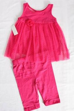 NEW Baby Girls 2 piece Outfit Size 12 Months Pink Lace Dress