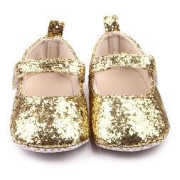 NEW Baby Girls Gold Glitter Sequin Mary Jane Crib Shoes 0-6