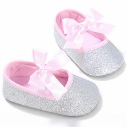 NEW Baby Girls Silver Glitter Pink Bow Ballet Crib Shoes 0-6