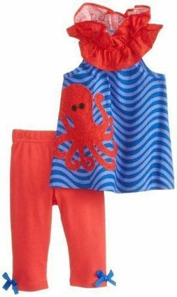 NEW Mud Pie Boathouse Baby Size 9-12M Blue Red Octopus Tunic