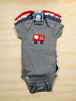 New Gerber Boys 4 Piece Onesies Set 9-12Months Fire Fighter