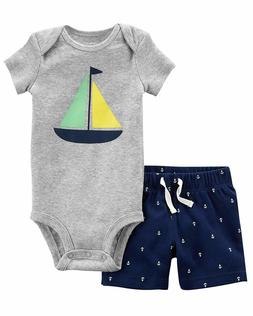 New Carter's Baby Boys Sailboat Bodysuit & Coordinated Easy