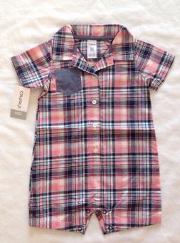 New Carters Boys Size 12 Months Pink Blue Plaid Romper 1 Pie