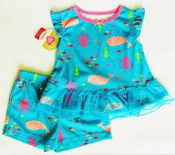 New Carters Girl baby toddler 2 pc pajamas Teal Sea-life sho
