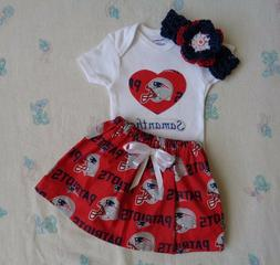 New England Patriots  Baby Girl Skirt, Personalized Bodysuit
