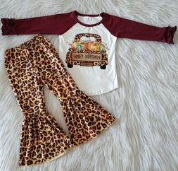 New Fall Outfits Toddler Girls Pumpkin Leopard Printed Bell